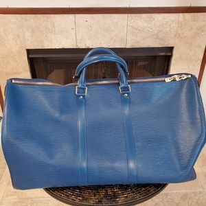 💯%Auth Louis Vuitton Epi Electric Blue Keepall